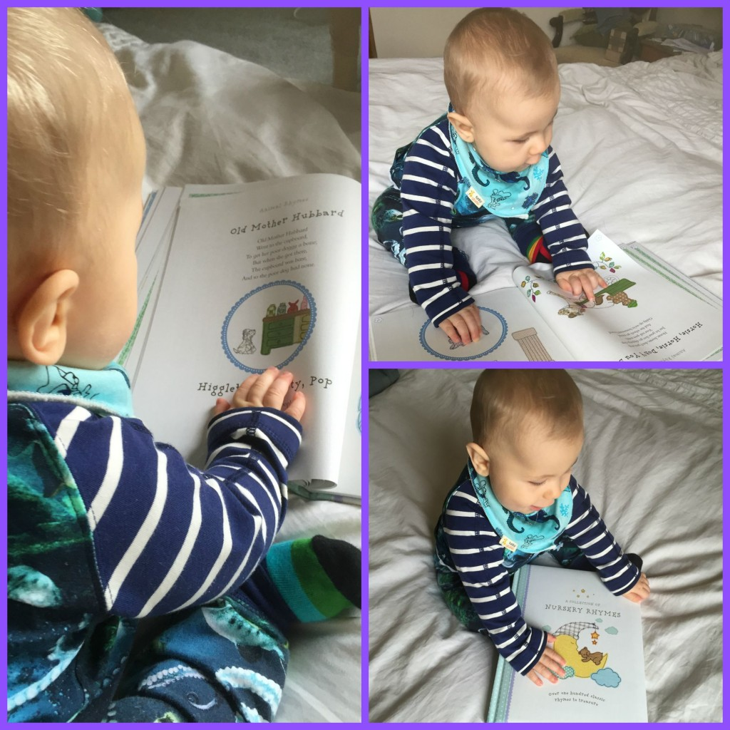 Caspian loving the fun and colourful drawings accompanying the nursery rhymes in this beautiful collection from Parragon Books