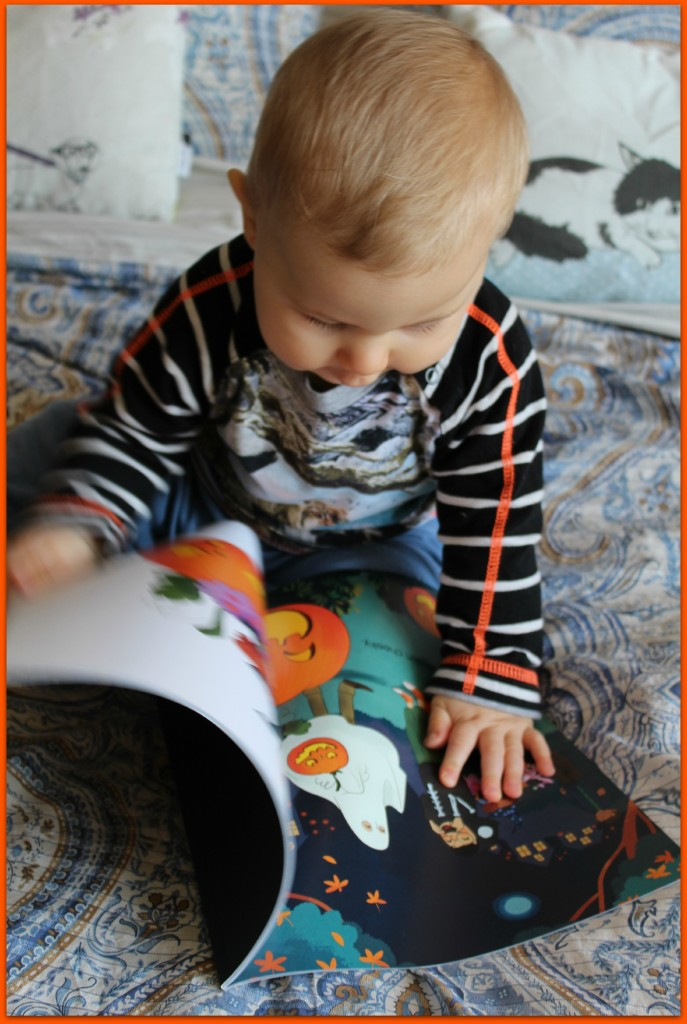 Caspian reading Pumpkins, Pumpkins Everywhere by Parragon Books
