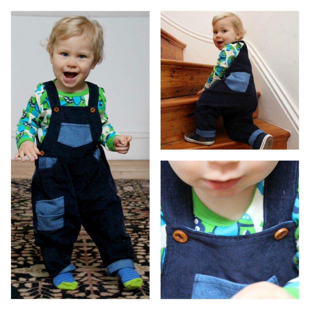 Caspian in the funky corduroy dungarees from What Mother Made sold at www.mamaetmoi.co.uk