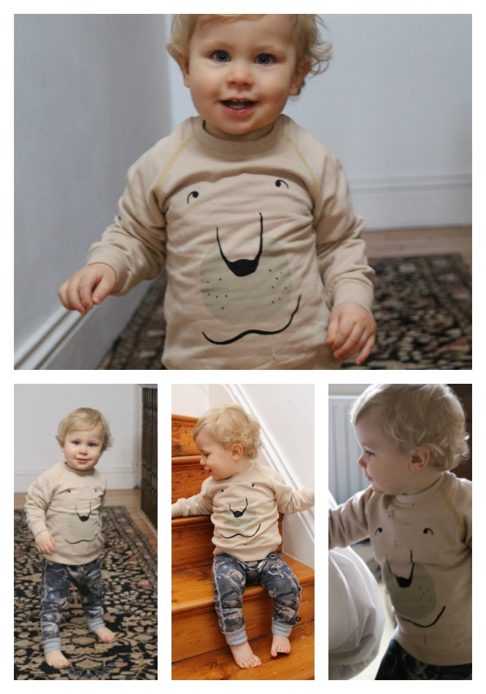 Caspian wearing the fun and quirky sweatshirt from British brand Piupia