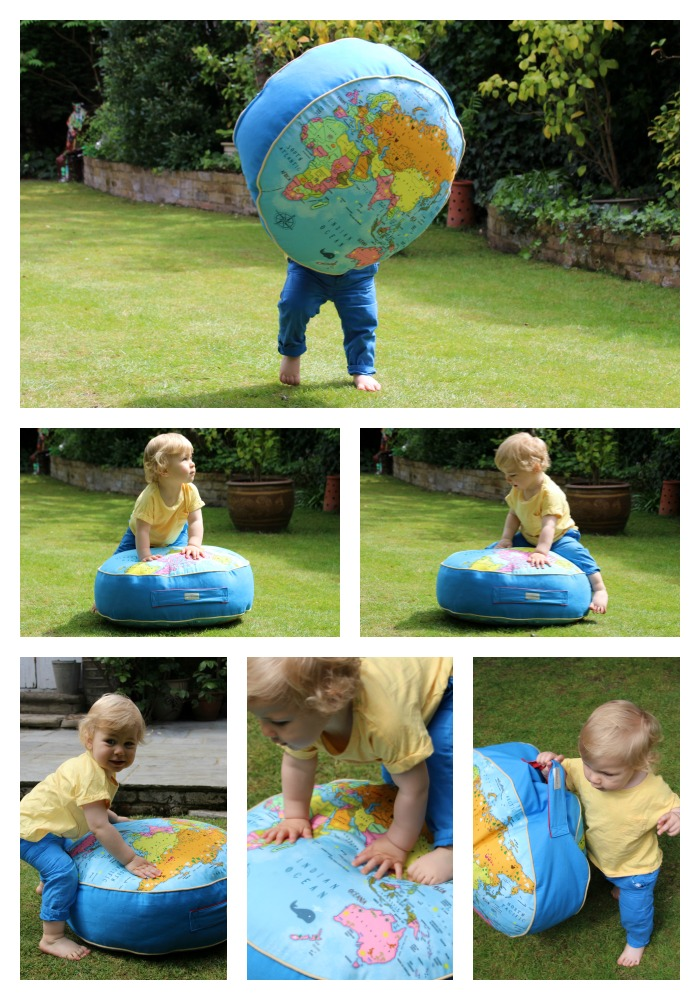 Caspian playing around on his floor cushion from Avalo Home. Beautiful cushions designed for kids and made in the UK.