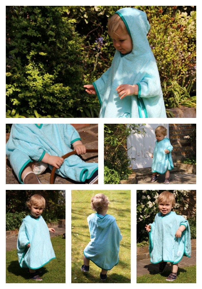 Caspian testing the practical poncho towel from Cuddledry