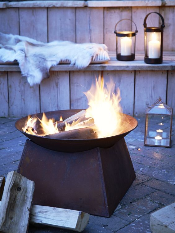 Rusty iron brazier from Cox & Cox to help create the perfect outdoor living space