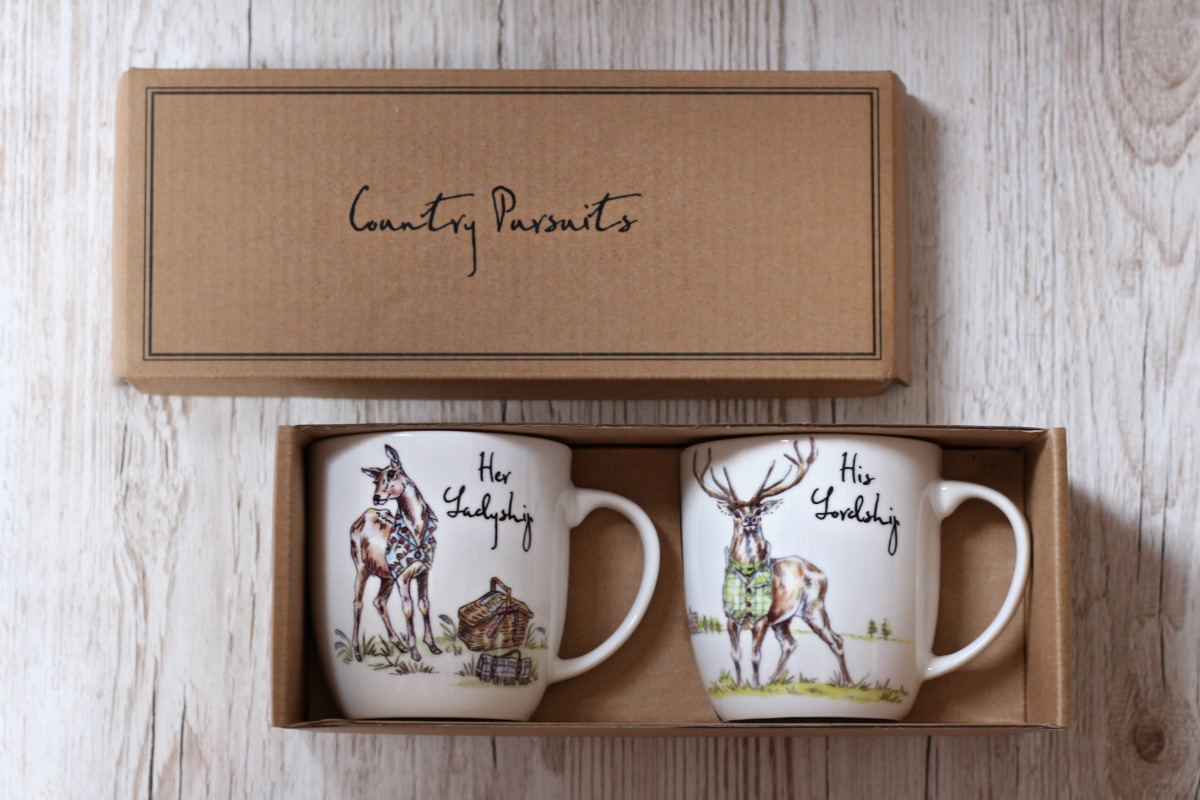 Fine bone china mugs with stag from Country Pursuits at QWERKITY