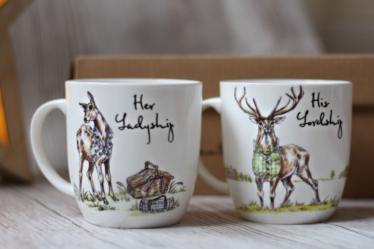Fine bone china with Her Ladyship and Her Lordship and stags from QWERKITY