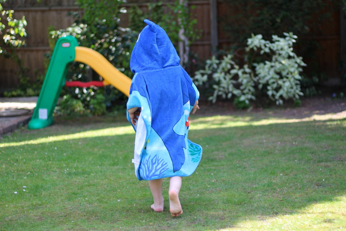 Hooded shark towel poncho from Boots Mini Club