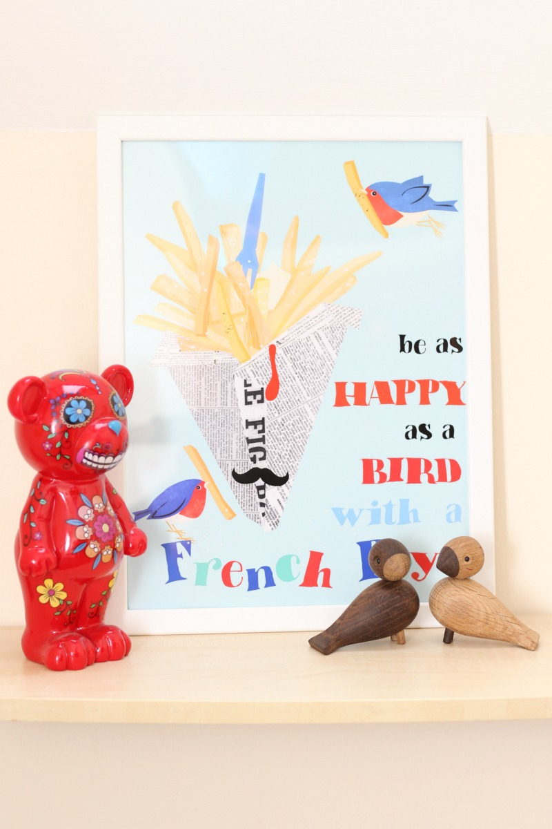 Be as happy as a bird with a french fry print from Posterlounge