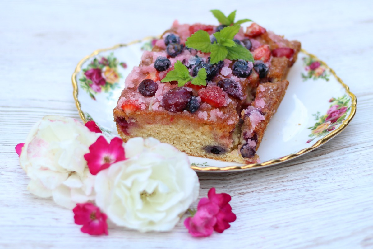 Super easy summer fruit drizzle cake