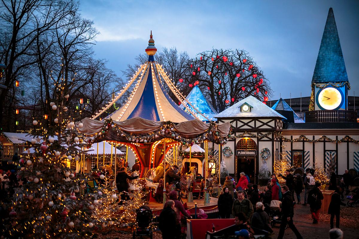 Experience the wonderful Christmas market in Tivoli Gardens when you go for Copenhagen at Christmas