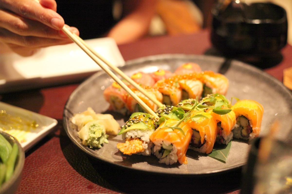 Eating sushi at Sticks 'n' Sushi Wimbledon