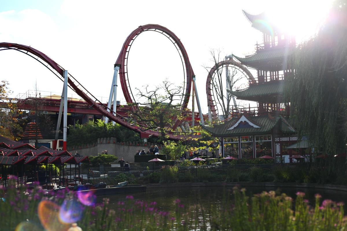 The roller-coaster in Tivoli Gardens, Copenhagen, Denmark