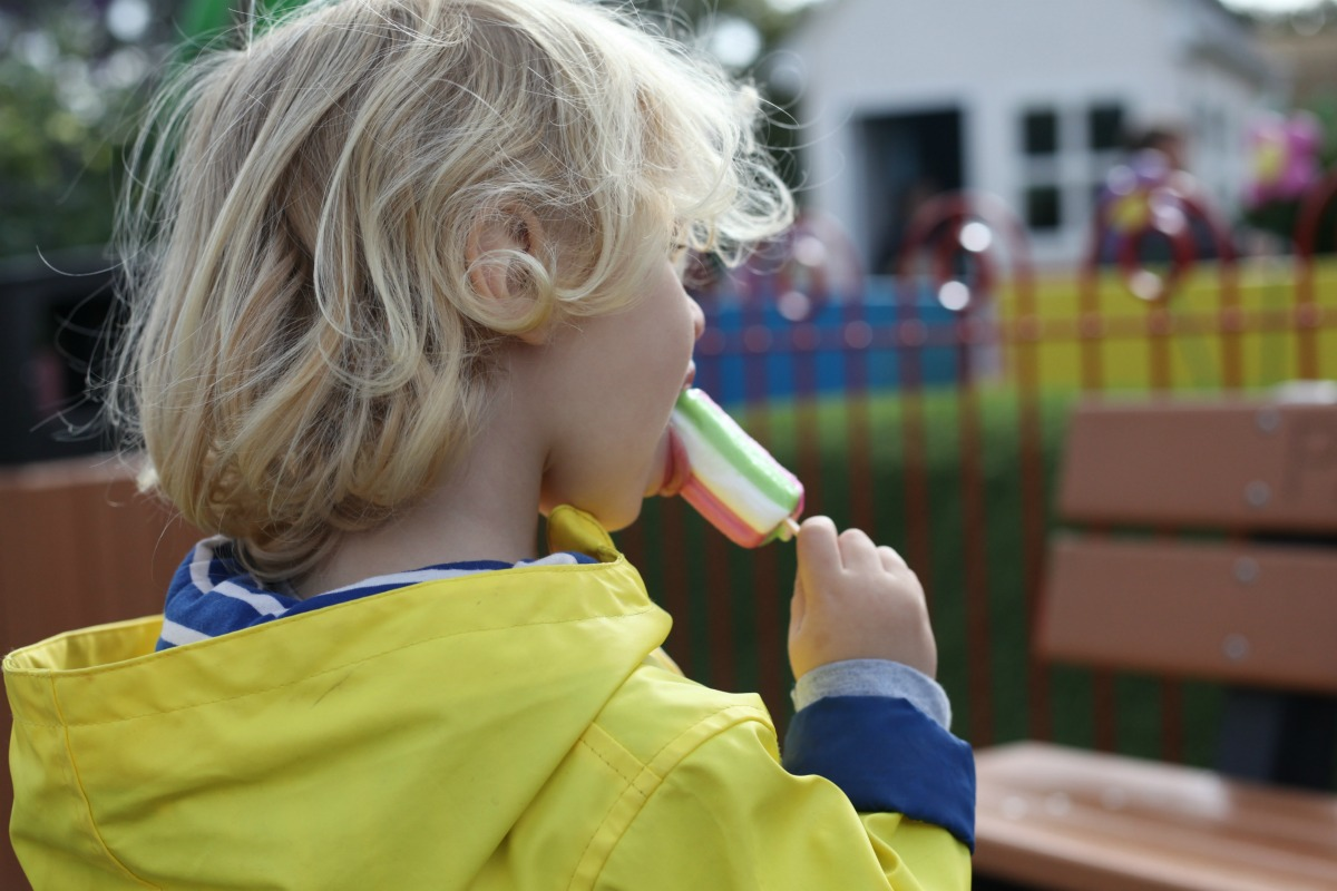 Enjoying an ice cream at Peppa Pig World