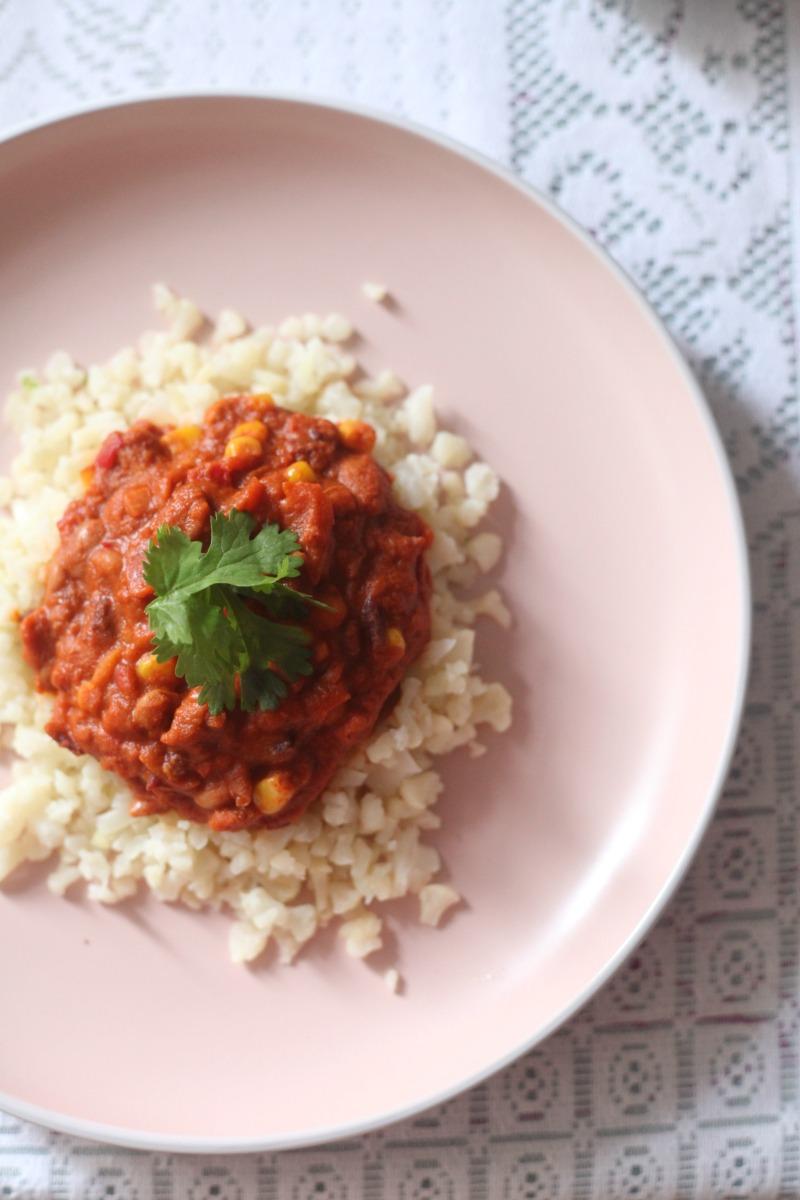 Chilli with cauliflower rice