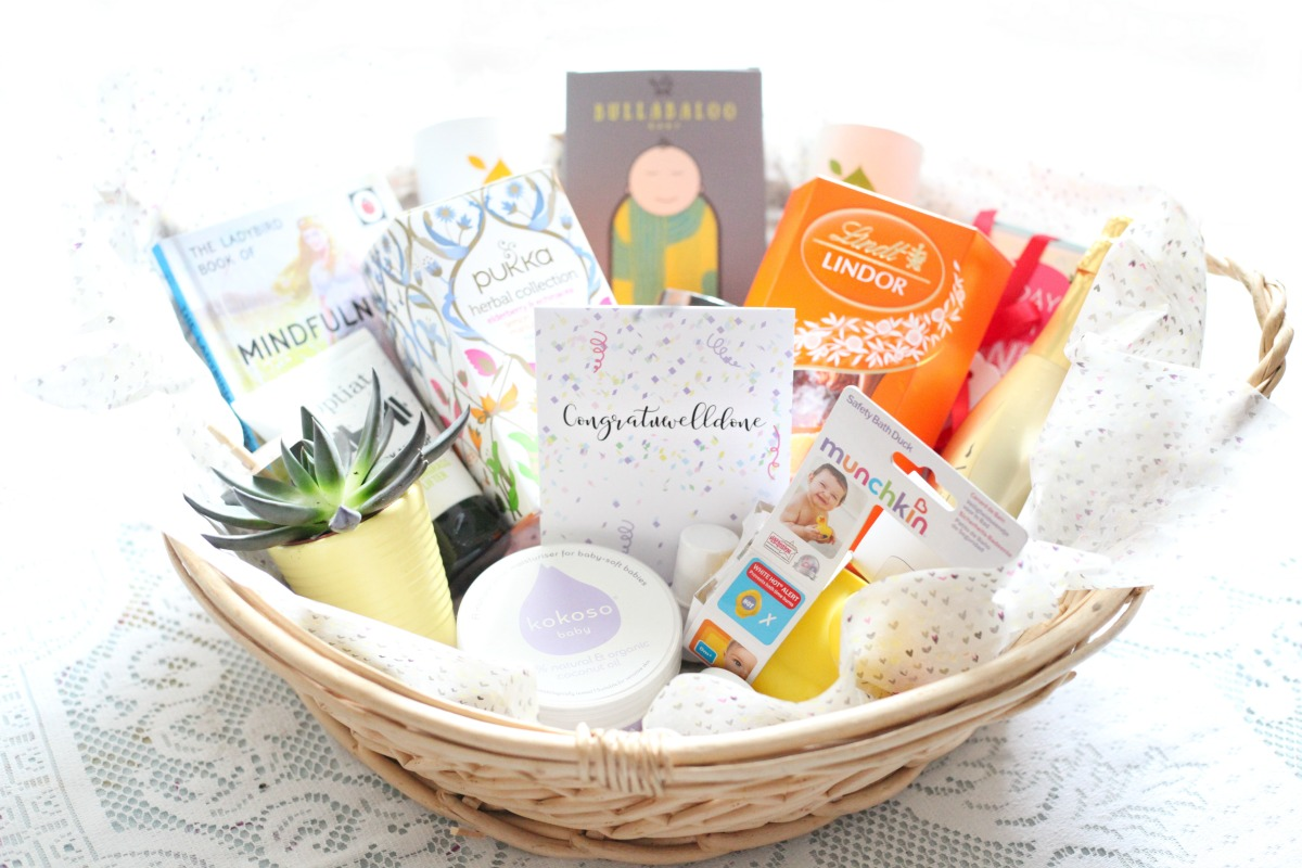 A big gift basket with the best gifts for new mums
