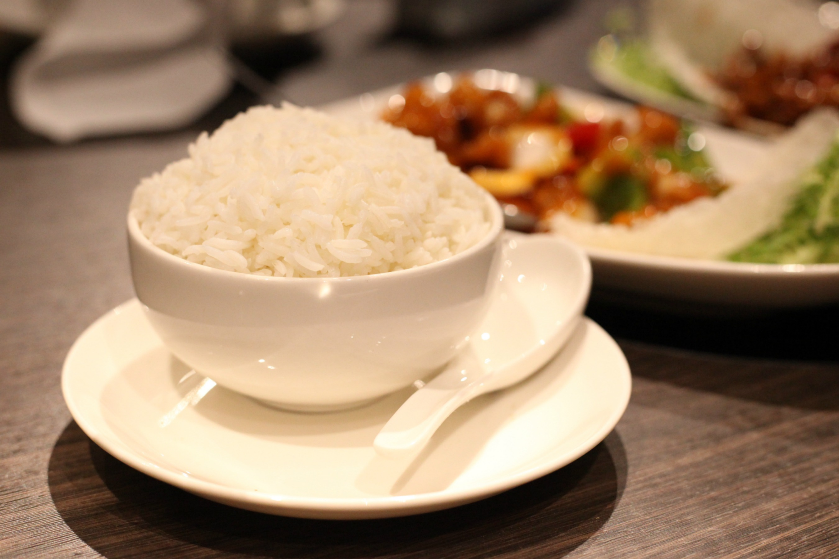 Steamed rice at Golden Dragon