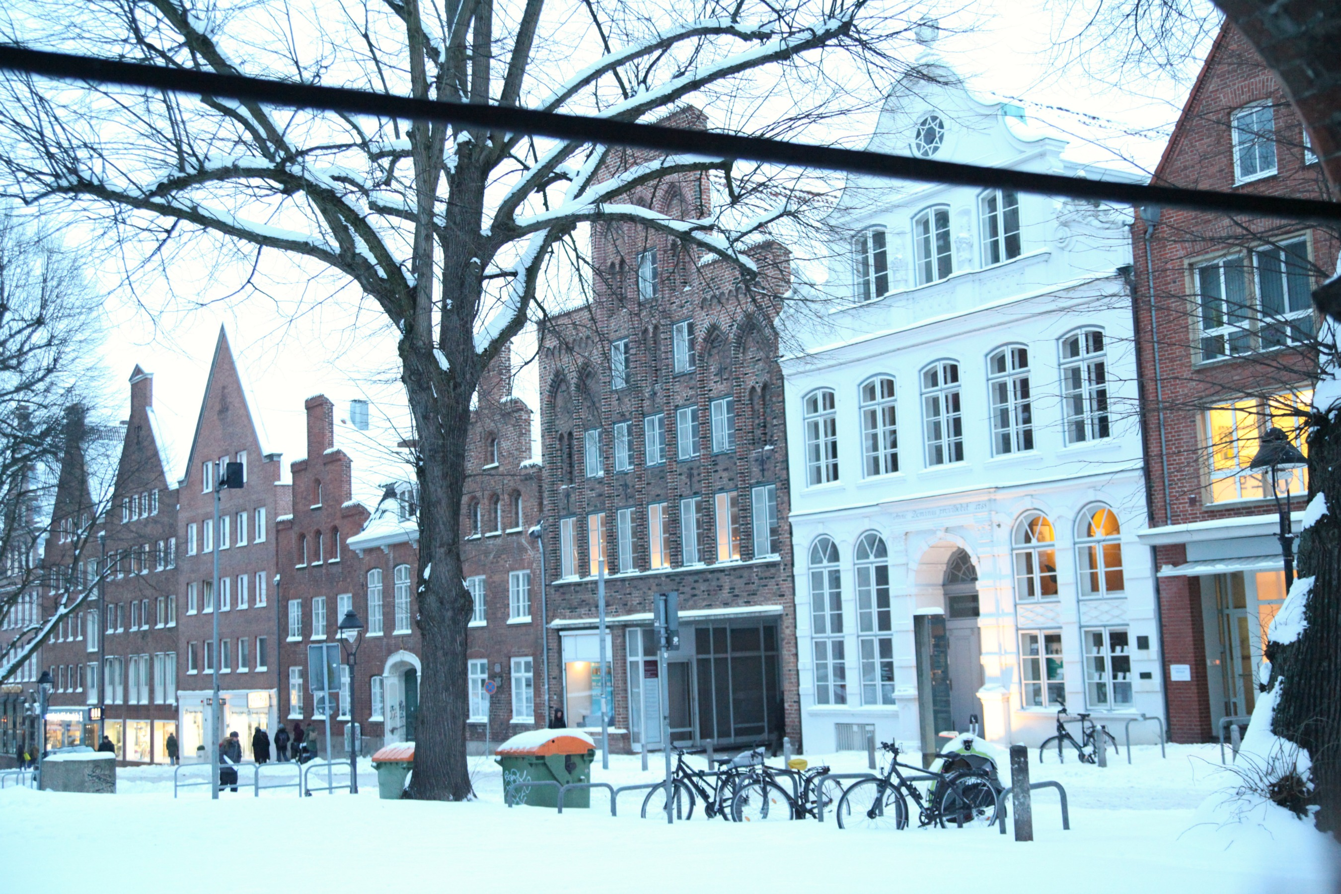 Snowy scenery in Lübeck
