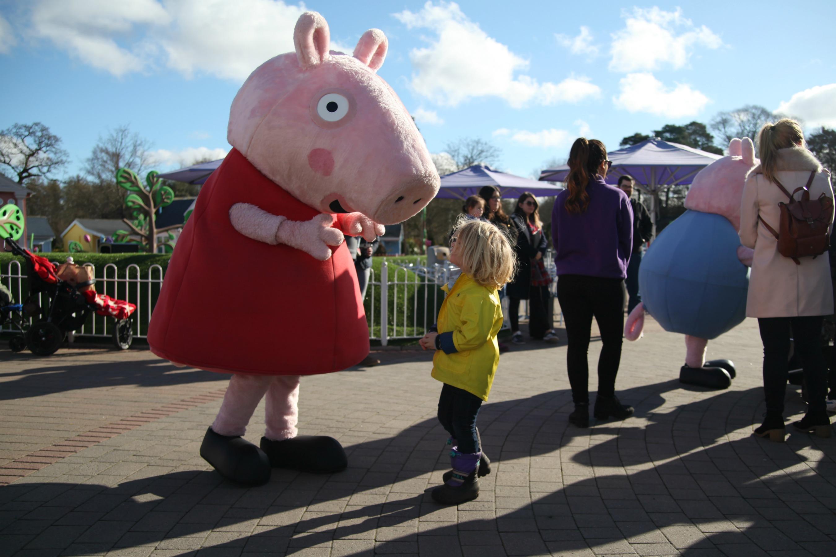 Meeting Peppa Pig at Paulton's Park and join the Muddy Puddles Walk