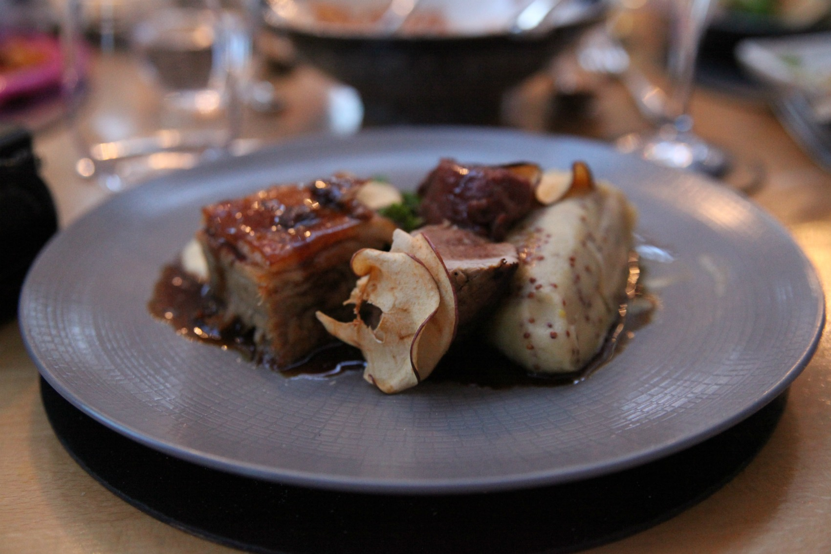Trio of pork main at The Ickworth Hotel